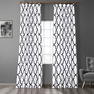 Link to Exclusive Fabrics Pinnacle White & Black Flocked Faux Silk Curtain Similar Items in Curtains & Drapes