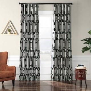 Exclusive Fabrics Royal Gate Silver & Black Flocked Faux Silk Curtain