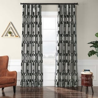Exclusive Fabrics Royal Gate Silver & Black Flocked Faux Silk Curtain