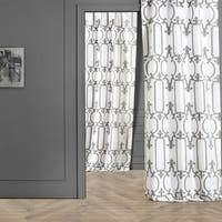 Exclusive Fabrics Royal Gate Buff & Silver Flocked Faux Silk Curtain