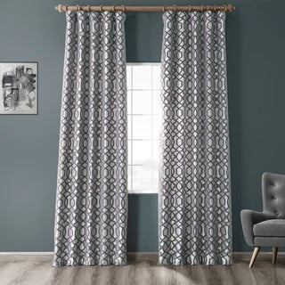 Link to Exclusive Fabrics Filigree Silver & Pewter Flocked Faux Silk Curtain Similar Items in Curtains & Drapes