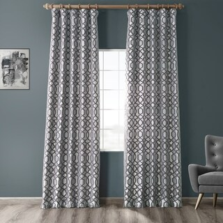 Exclusive Fabrics Filigree Silver & Pewter Flocked Faux Silk Curtain