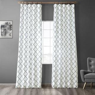 Link to Exclusive Fabrics Pavillion Jade Flocked Faux Silk Curtain Similar Items in Window Treatments