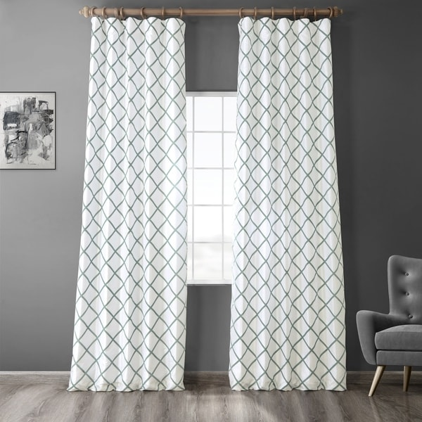Exclusive Fabrics Pavillion Jade Flocked Faux Silk Curtain. Opens flyout.