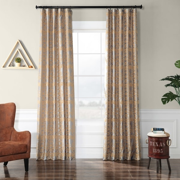 Exclusive Fabrics Firenze Silver & Gold Flocked Faux Silk Curtain