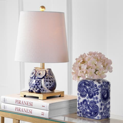 "Justina 16"" Ceramic Mini LED Table Lamp, Blue/White by JONATHAN Y"