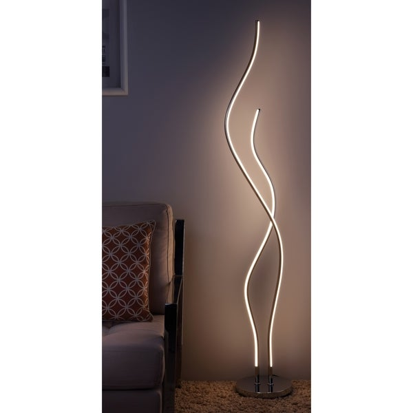 "Cairo 63.75"" Led Integrated Floor Lamp, Chrome by Jonathan Y"