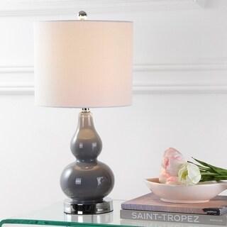 "Anya 20.5"" Mini Glass LED Table Lamp, Gray"