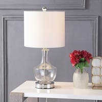 "Colette 20"" Mini Glass LED Table Lamp, Clear"