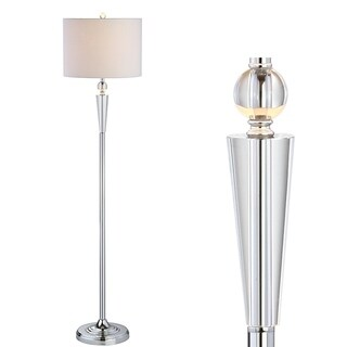 """Reese 59.5"""" Crystal Floor Lamp, Clear/Chrome by JONATHAN Y"""