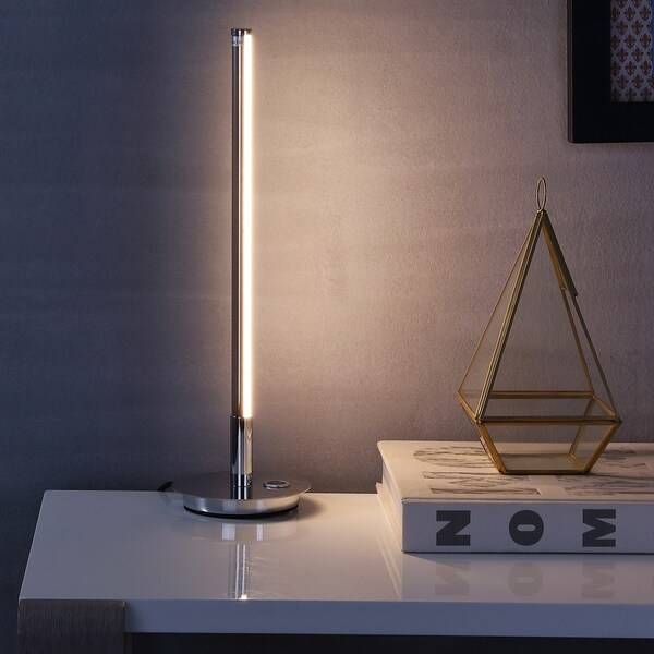"""Keira 16.5"""" LED Integrated Table Lamp, Chrome by JONATHAN Y"""