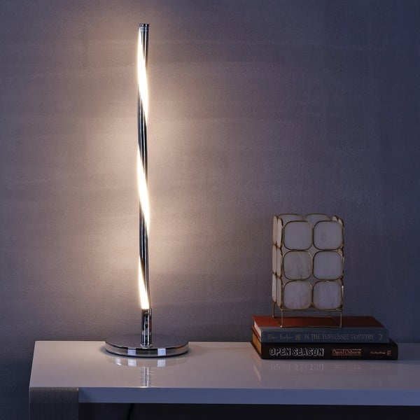 "Nile 23.5"" LED Integrated Table Lamp, Chrome"