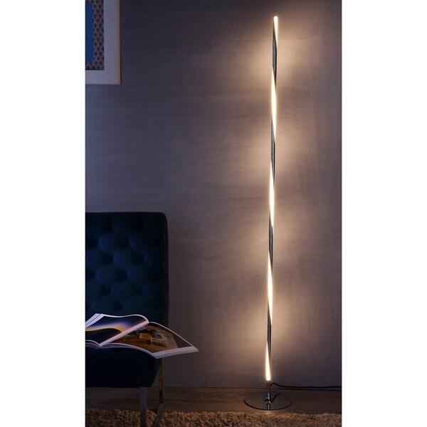 """Pilar 63.75"""" LED Integrated Floor Lamp, Chrome"""