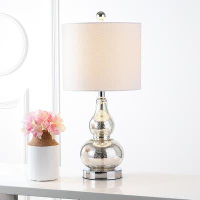 "Anya 20.5"" Mini Glass LED Table Lamp, Silver by JONATHAN Y"