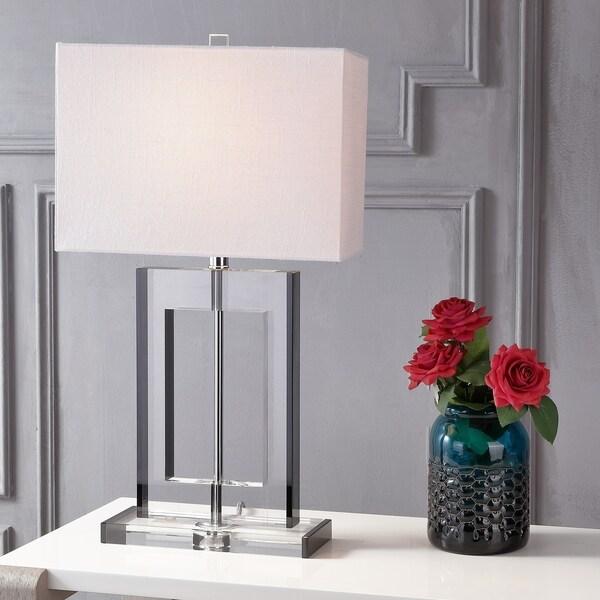"Parish 26"" Crystal LED Table Lamp, Clear/Black"