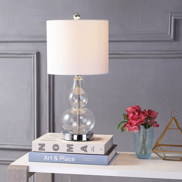 "Anya 20.5"" Mini Glass LED Table Lamp, Clear"
