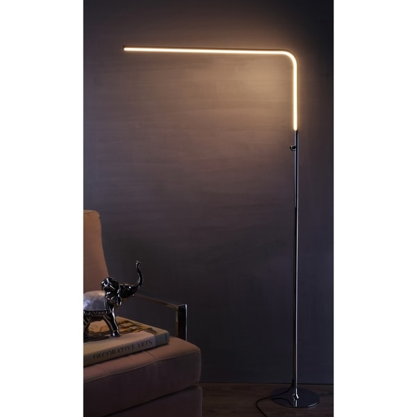 "Natalie 63"" LED Integrated Floor Lamp, Chrome"