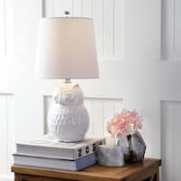 "Hoot 20.5"" Ceramic Mini LED Table Lamp, White Owl"