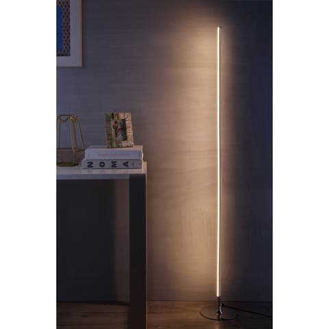 """Iris 59.5"""" LED Integrated Floor Lamp, Chrome by JONATHAN Y - 59.5"""" H x 8"""" W x 8"""" D"""