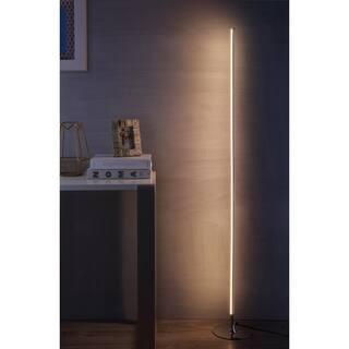 "Iris 59.5"" LED Integrated Floor Lamp, Chrome by JONATHAN Y"