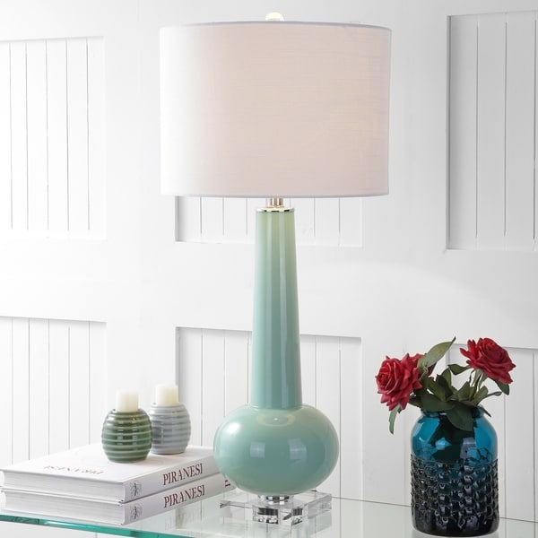 """Hope 31"""" Glass LED Table Lamp, Green with Crystal Base"""