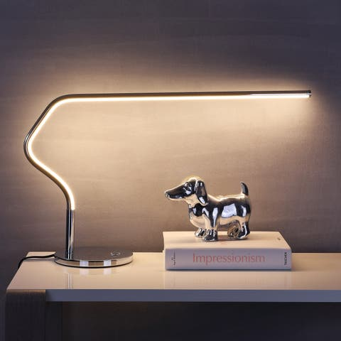 """Julian 15"""" LED Integrated Task Lamp, Chrome by JONATHAN Y - Silver"""