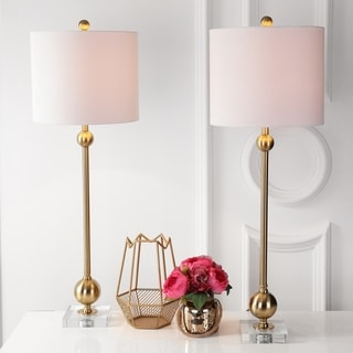 """Hollis 34"""" Metal LED Table Lamp, Brass with Crystal Base (Set of 2) by JONATHAN  Y"""