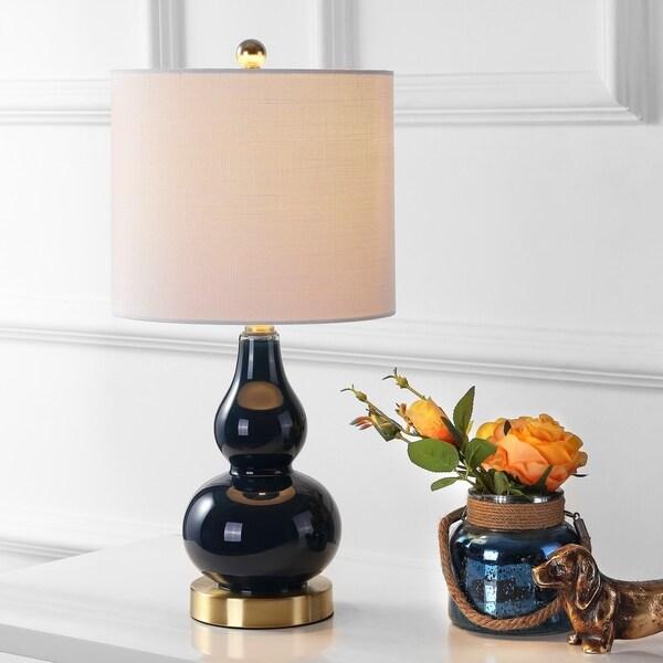 "Anya 20.5"" Mini Glass LED Table Lamp, Navy"