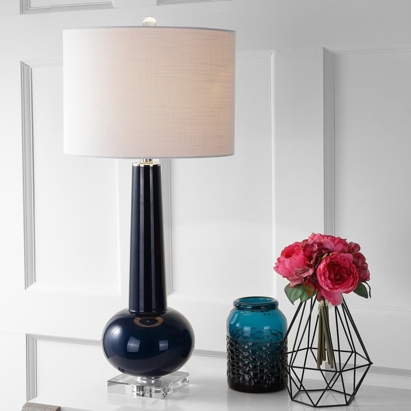 """Hope 31"""" Glass LED Table Lamp, Navy with Crystal Base"""