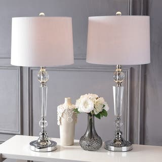 """Emma 29.5"""" Crystal Table Lamp, Clear (Set of 2) by JONATHAN Y
