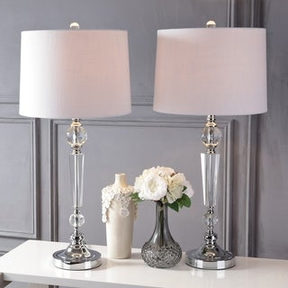 """Emma 29.5"""" Crystal LED Table Lamp, Clear (Set of 2)"""