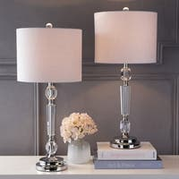 """Victoria 27"""" Crystal LED Table Lamp, Clear (Set of 2)"""