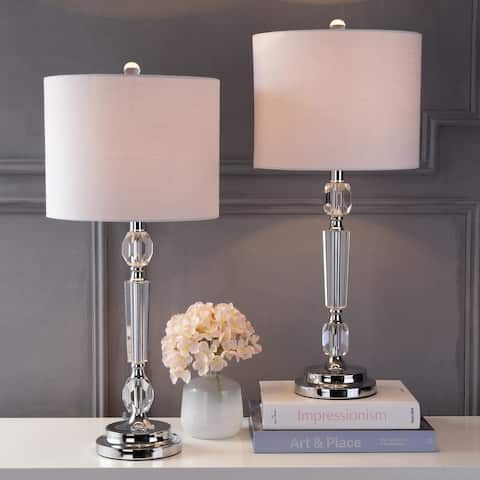 """Victoria 27"""" Crystal LED Table Lamp, Clear (Set of 2) by JONATHAN Y"""