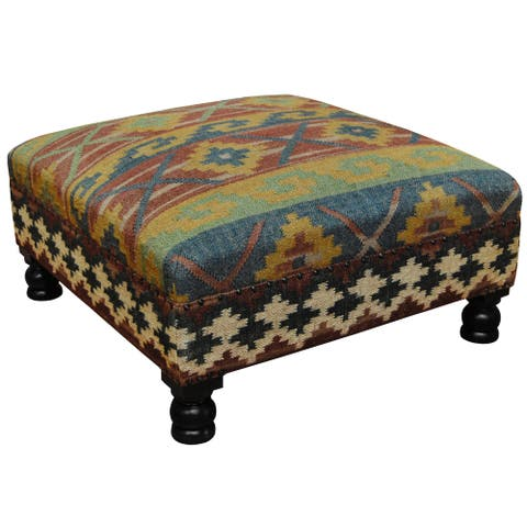 "Handmade Tribal Kilim Upholstered Ottoman (India) - 31"" x 31"" x 15"""