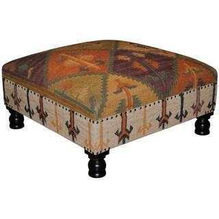 Handmade Herat Oriental Tribal Kilim Upholstered Ottoman