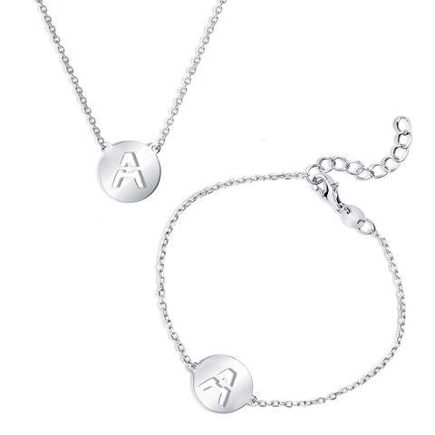 La Preciosa Sterling Silver Italian High Polish Initial Cut-Out Disc Bracelet and Necklace Set