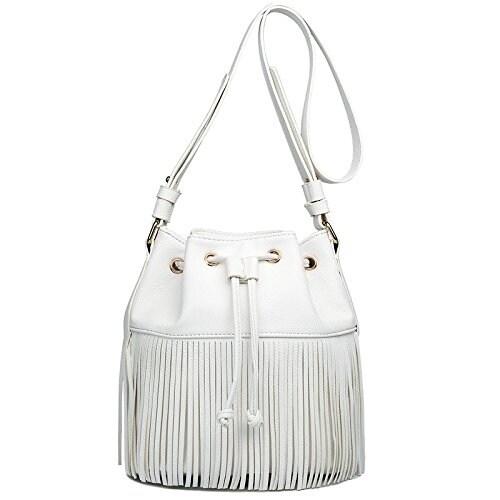 dca4bc72764a Shop Miss Lulu Leather Look Fringe Tassel Drawstring Hobo Shoulder Bag -  Free Shipping On Orders Over $45 - Overstock - 18731026