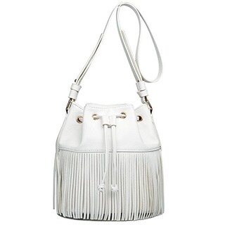 Miss Lulu Leather Look Fringe Tassel Drawstring Hobo Shoulder Bag