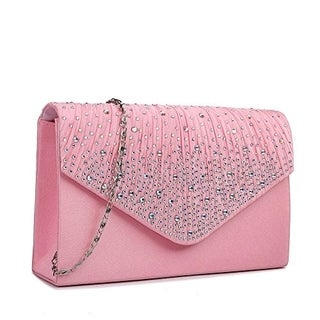 Miss Lulu Ladies Diamante Clutch Evening Bridal Wedding Bag Handbag (Pink)