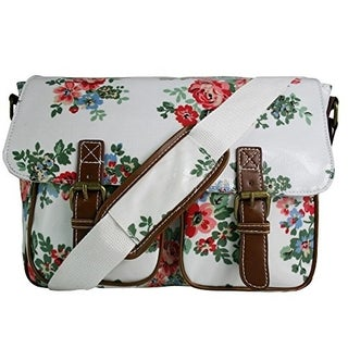 Miss Lulu Oilcloth Prints Satchel Messenger Shoulder School Bag (Cat Beige)