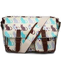 Miss Lulu Oilcloth Prints Satchel Messenger Shoulder School Bag (Cat Beige)