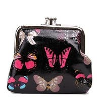 Miss Lulu Designer Oil Cloth Clasp Coin Purse (Butterfly Black)