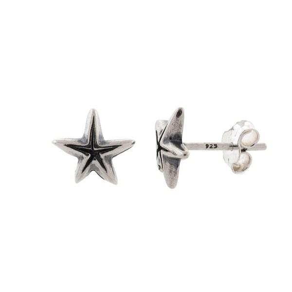 Pori Jewelers Rhodium Plated 925 Sterling Silver Star Stud Earrings