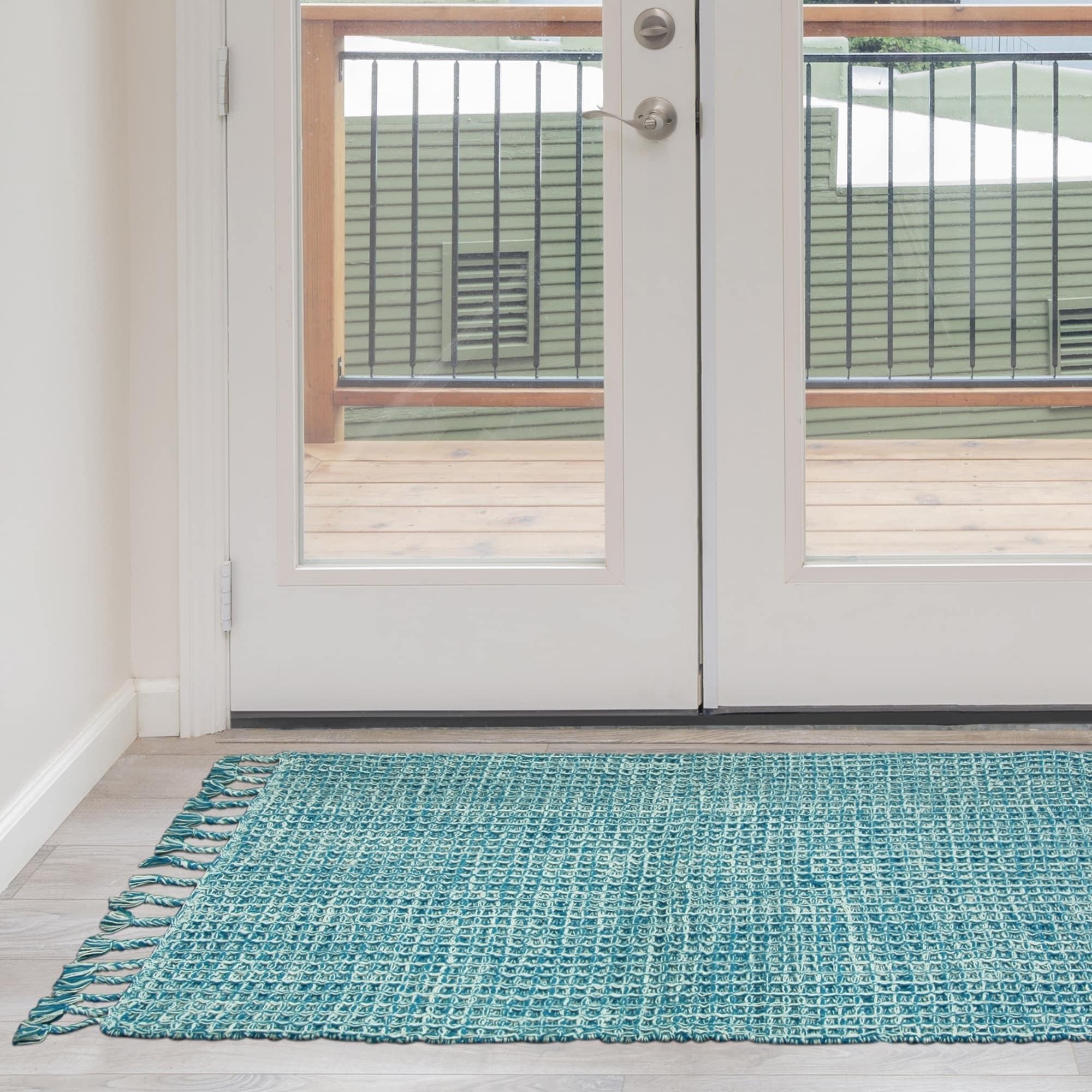 Jessica Simpson woven Bonney Cotton accent rug (Turquoise...
