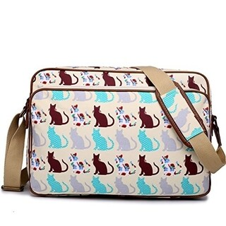 Miss Lulu Matte Finish Oilcloth Satchel Messenger Bag (Cat Beige)