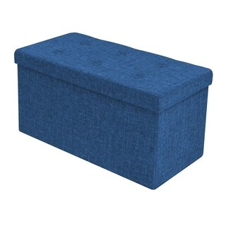 Faux Linen Storage Bench - Small, Blue