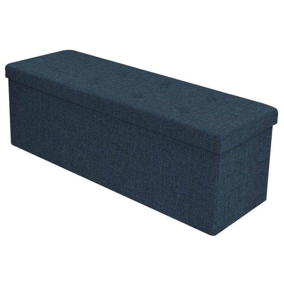 Faux Linen Storage Bench - Navy Blue (Suede)