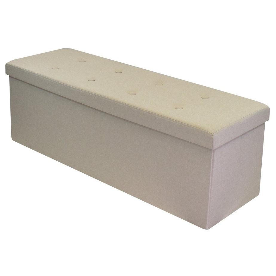 Faux Linen Storage Bench - Cream, Tan (Suede)