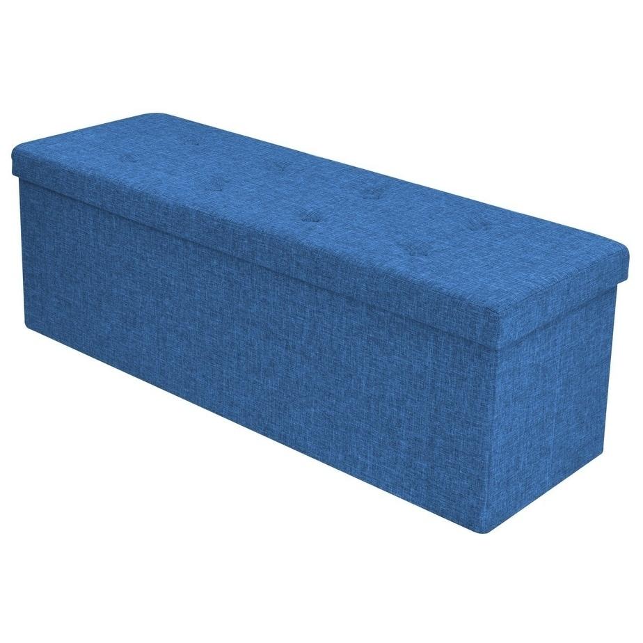 Faux Linen Storage Bench - Blue (Suede)