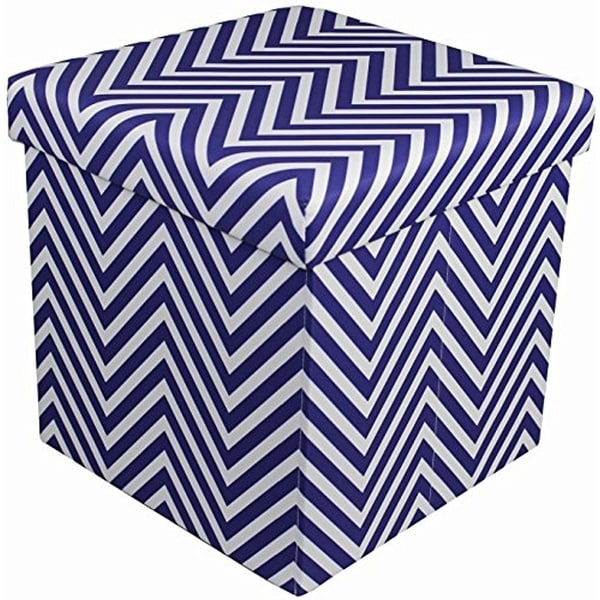 shop chevron storage ottoman navy blue free shipping on orders over 45. Black Bedroom Furniture Sets. Home Design Ideas